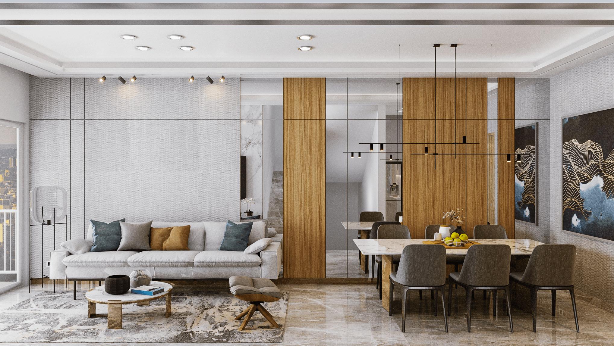 ruang keluarga modern kontemporer