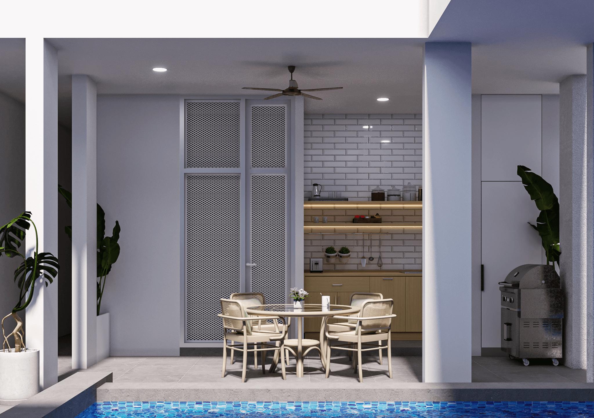 area makan terbuka dan dapur modern tropis