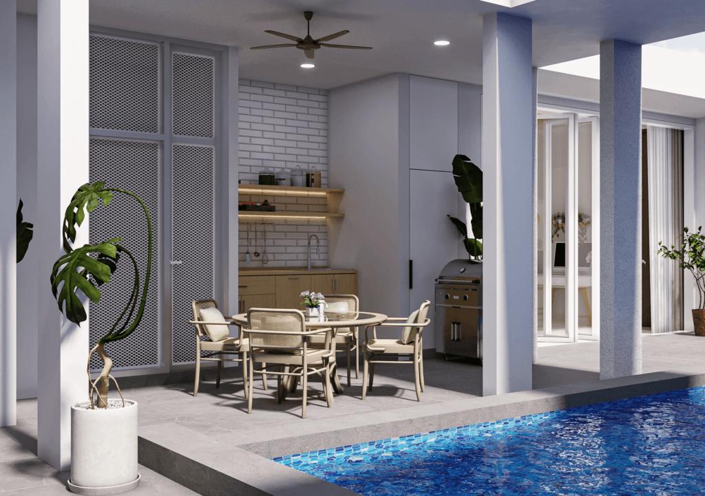 desain area makan terbuka dan dapur modern tropis