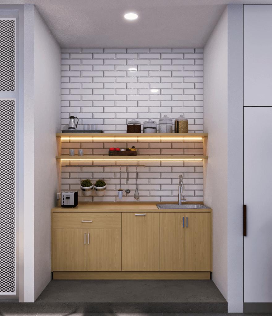 interior area makan terbuka dan dapur modern tropis