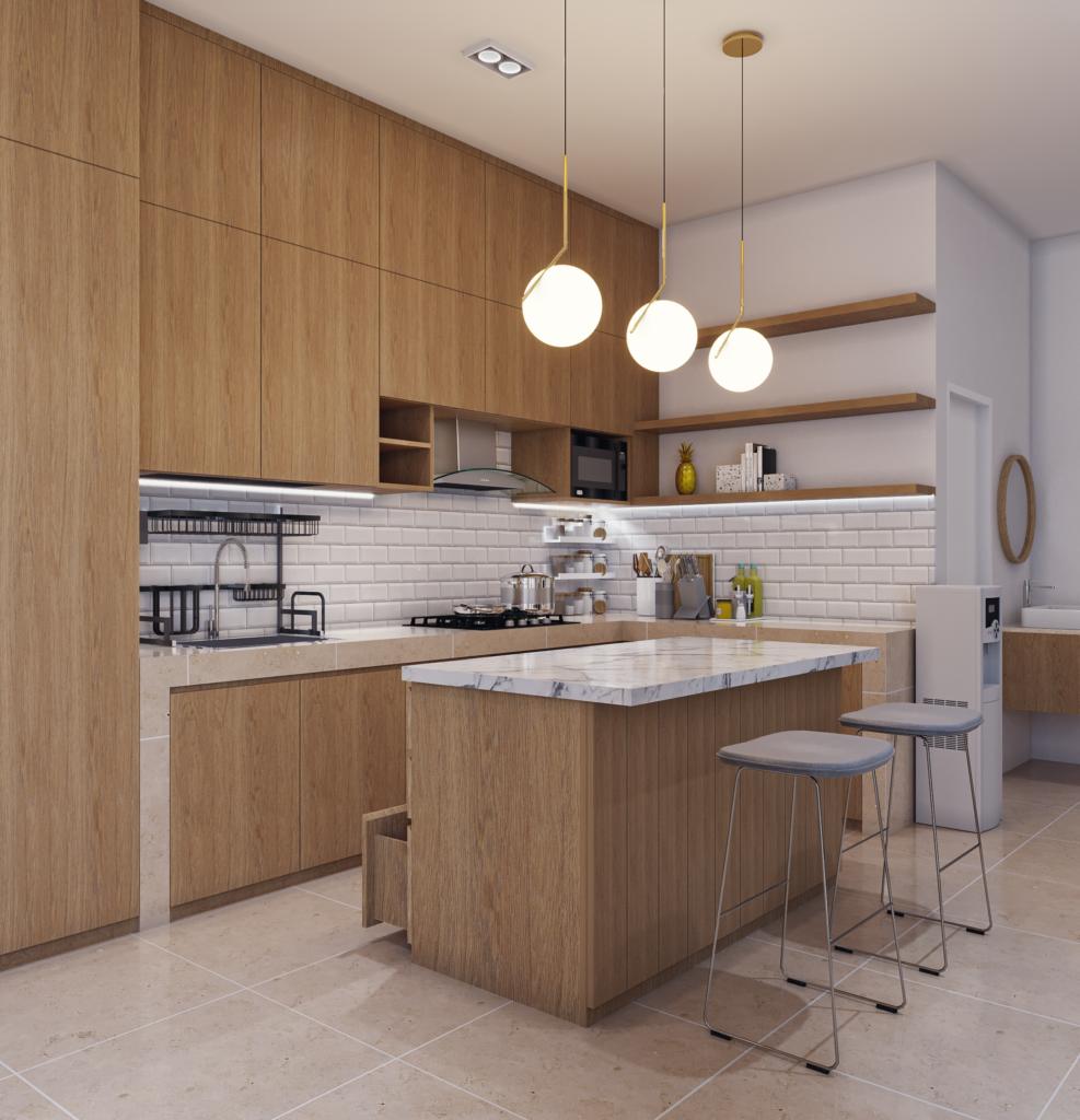 dapur dengan desain interior modern-kontemporer