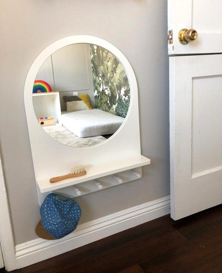 cermin dinding minimalis di kamar tidur anak