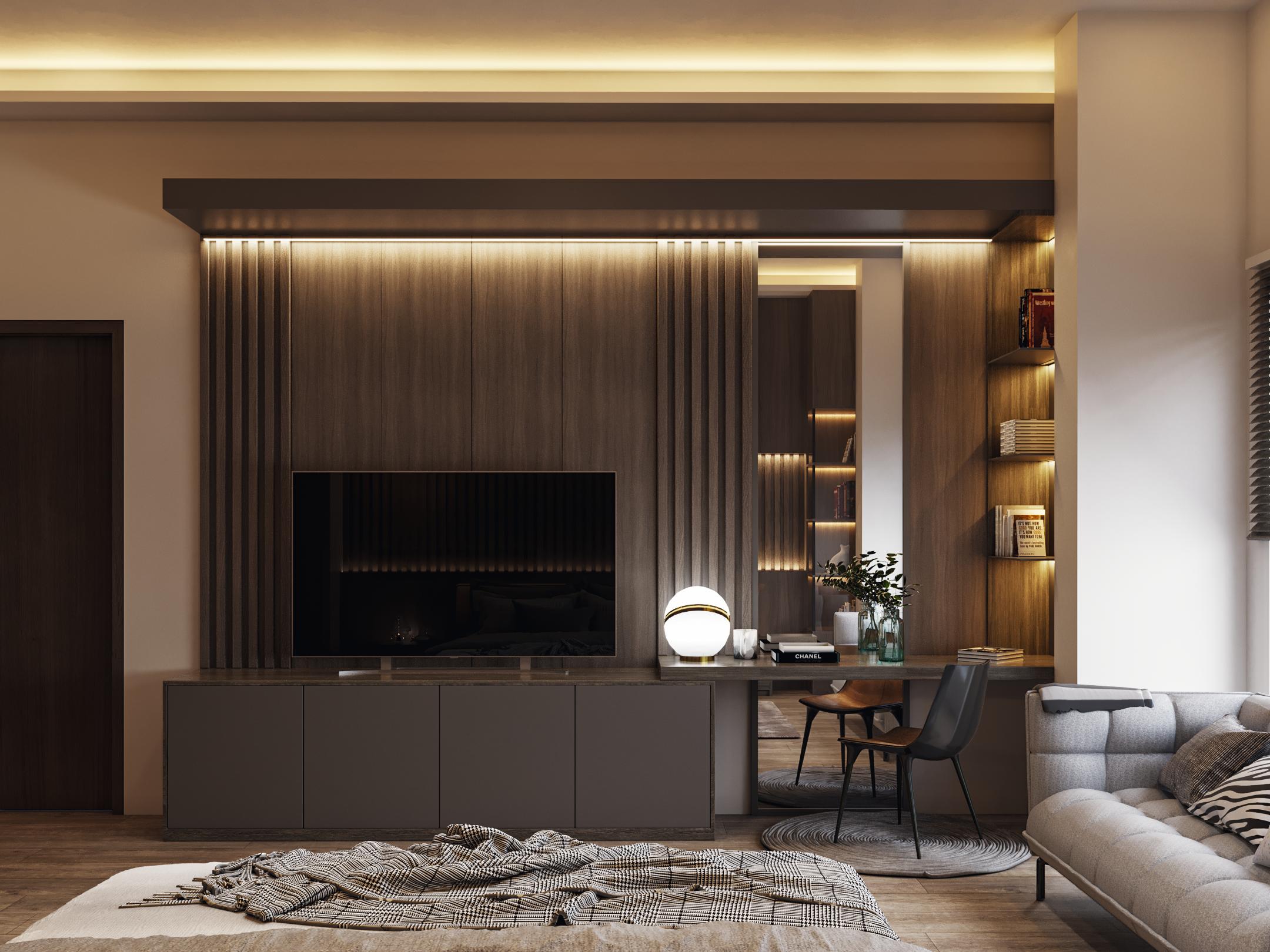 interior kamar tidur modern-kontemporer