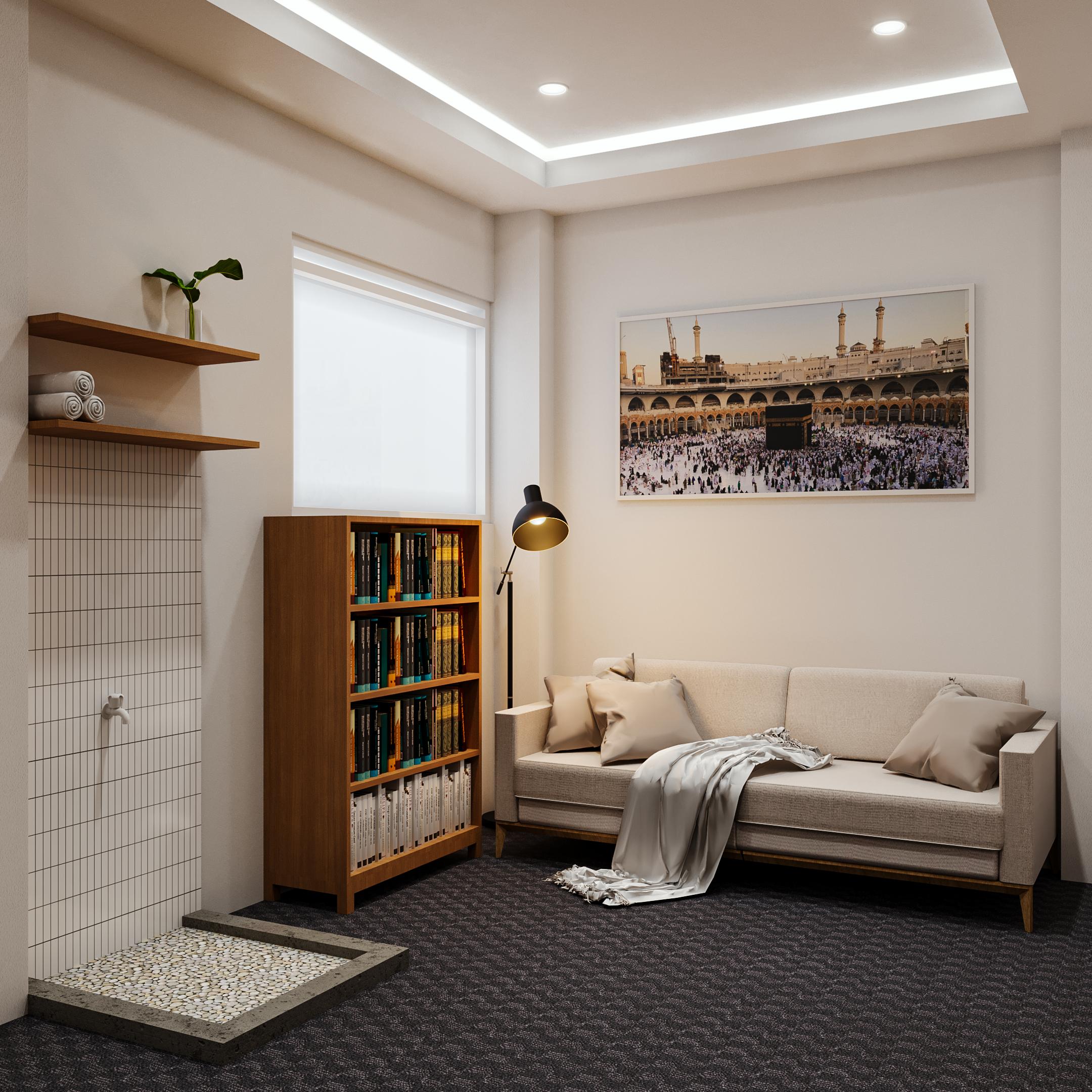 desain ruang baca dan mushola klasik modern