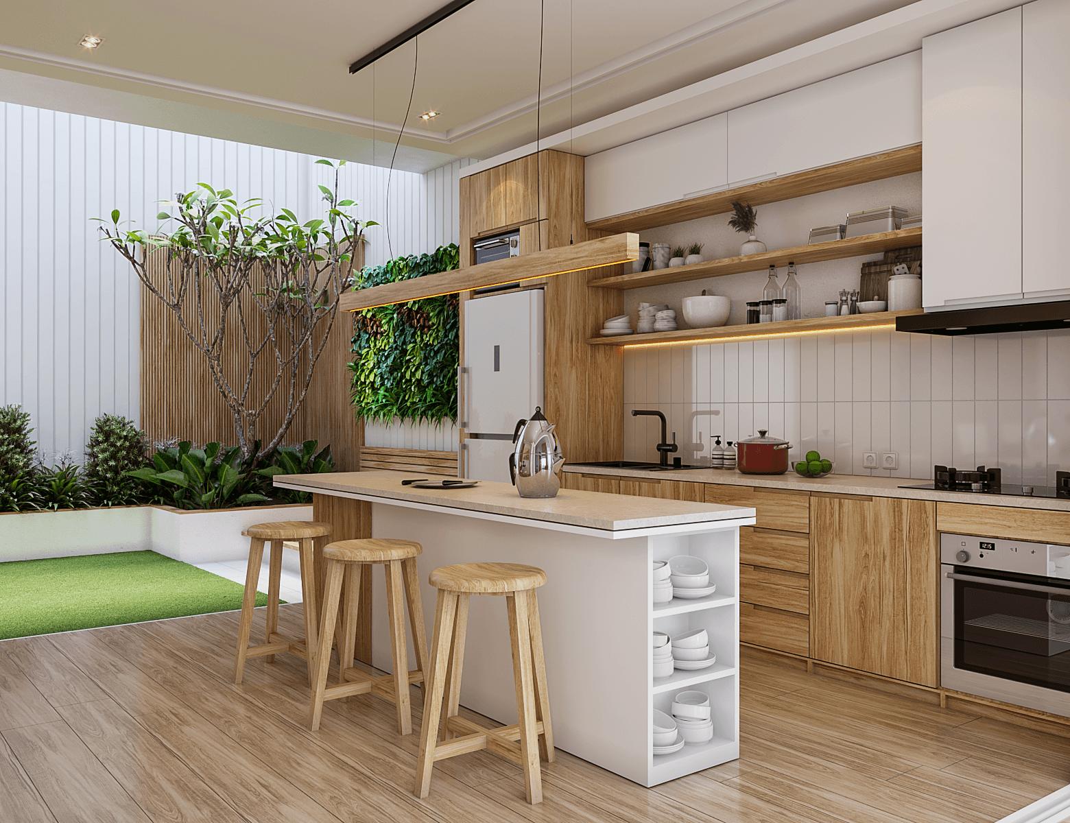 interior dapur minimalis dengan meja dapur kayu