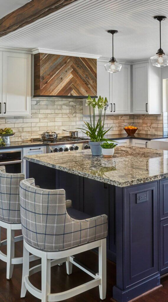 meja dapur granit abstrak keemasan