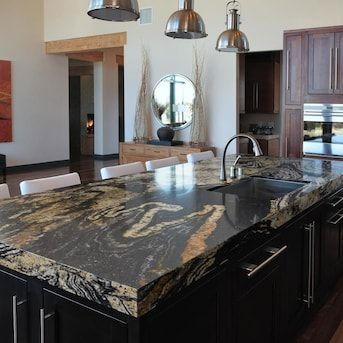 meja dapur granit hitam corak