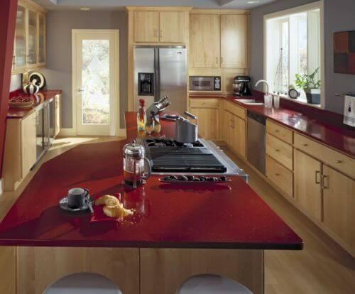 meja dapur granit merah
