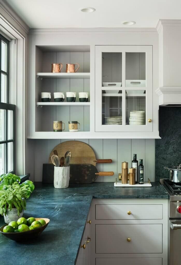 meja dapur granit hijau