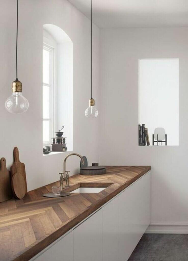 meja dapur kayu dengan tampilan menarik
